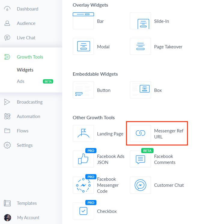 Growth Tools Manychat Ref URL