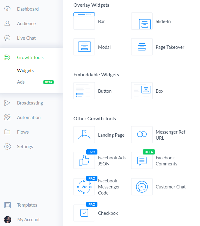 Growth Tools Manychat