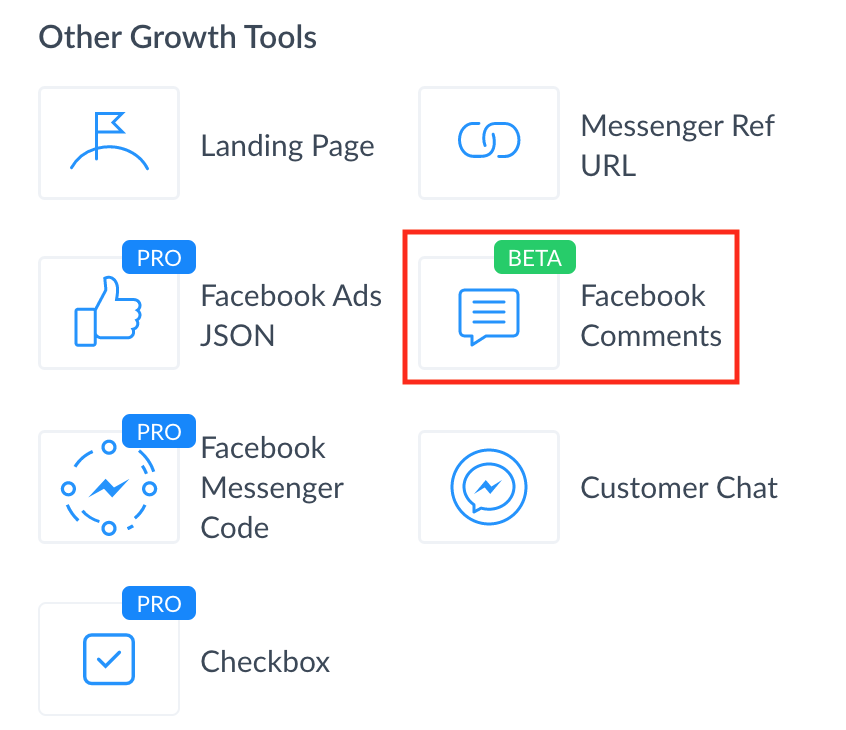 Growth Tools Facebook Comment Manychat
