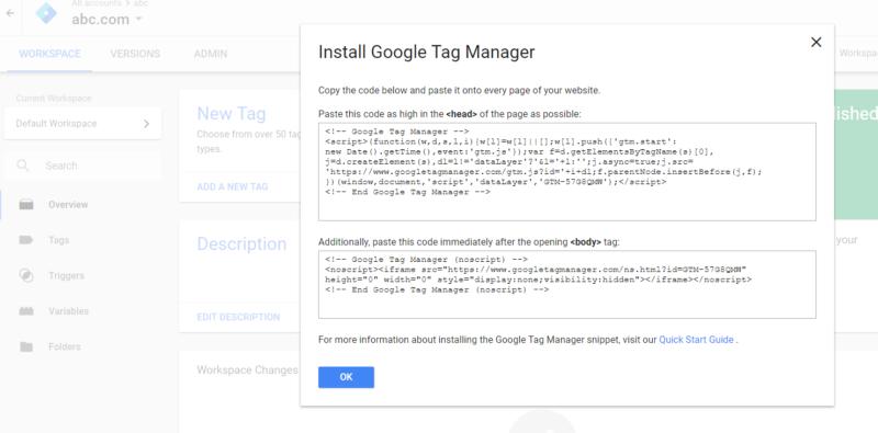 ตัวอย่าง Script การติดตั้ง Google Tag Manager