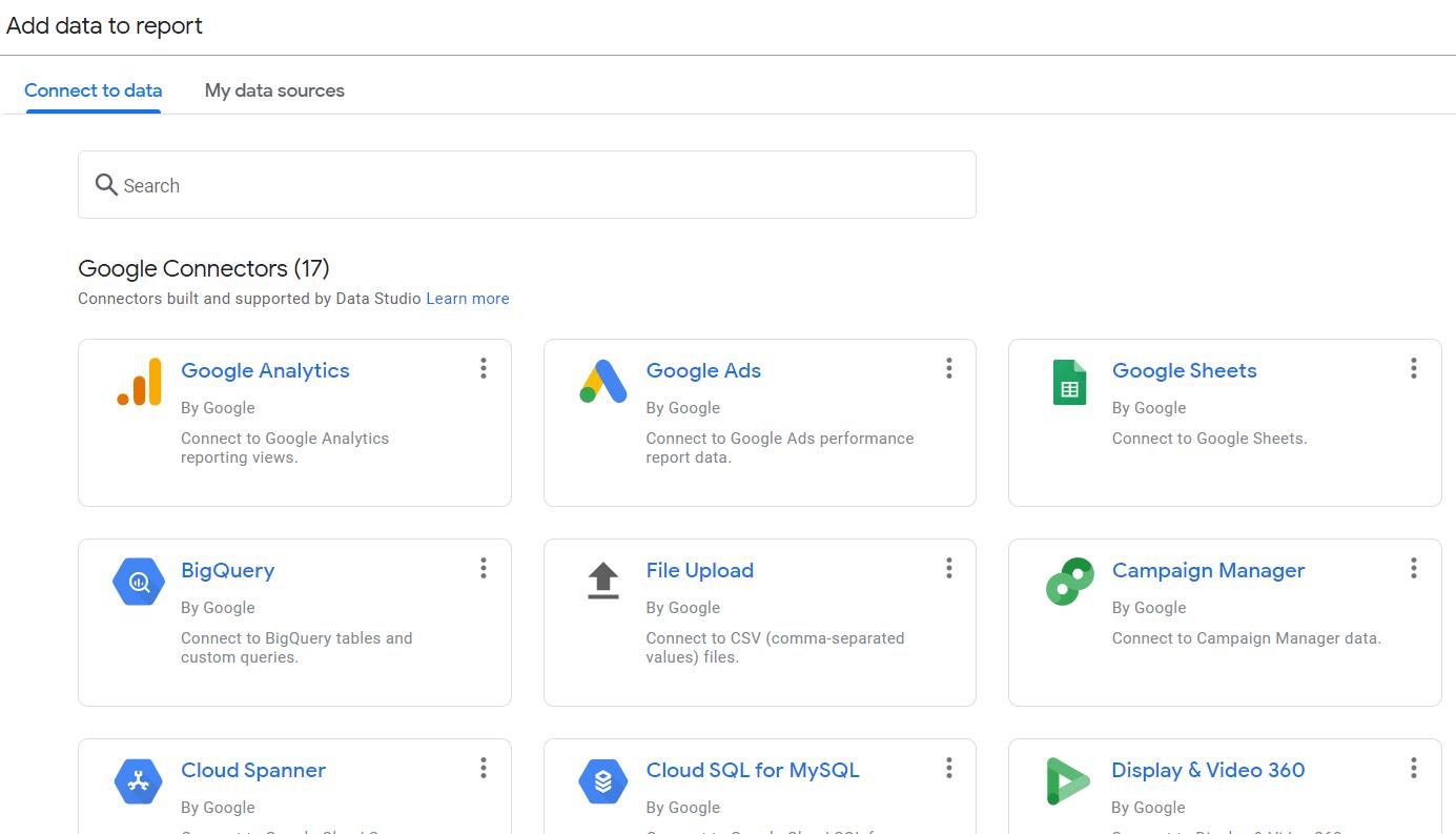 Google Data Studio สามารถ Connect ได้หลายแหล่ง