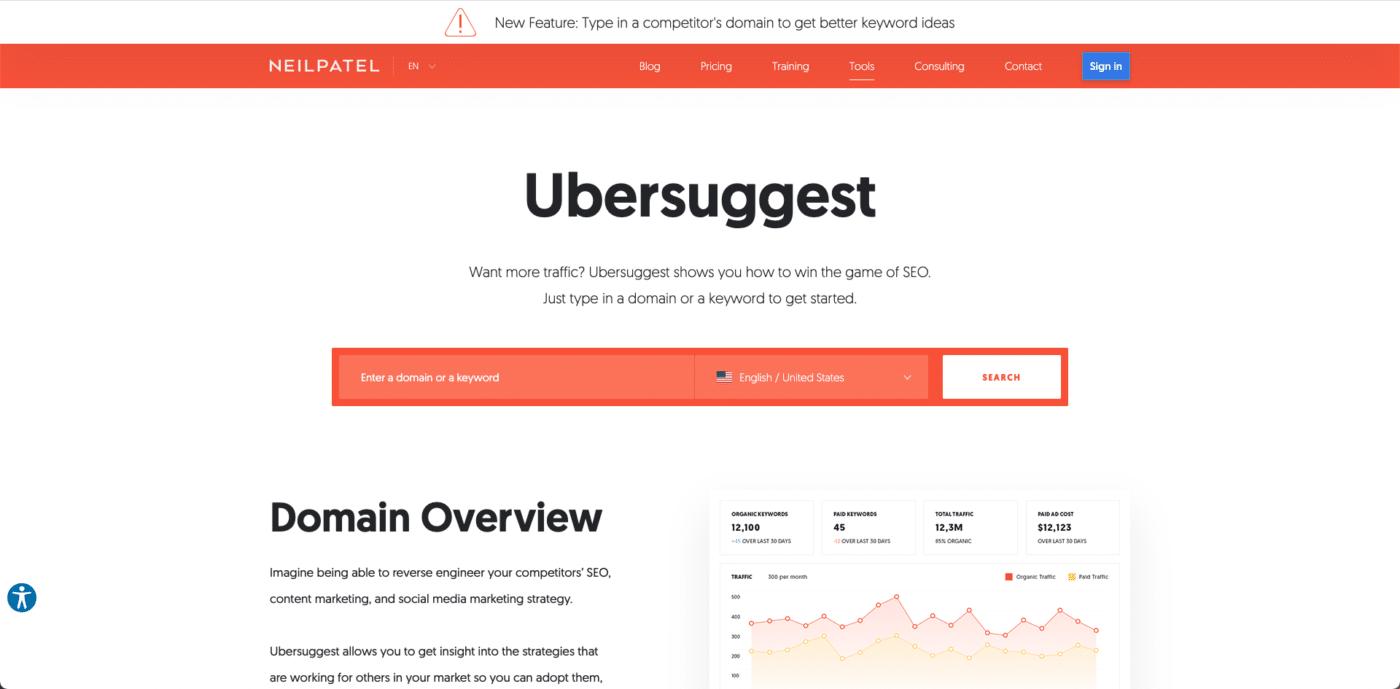 ตัวอย่างหน้าแสดงผล Ubersuggest