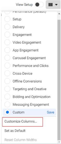 วิธี Custom Metrics ใหม่ใน Facebook