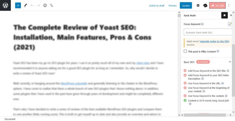 Yoast seo keyword density
